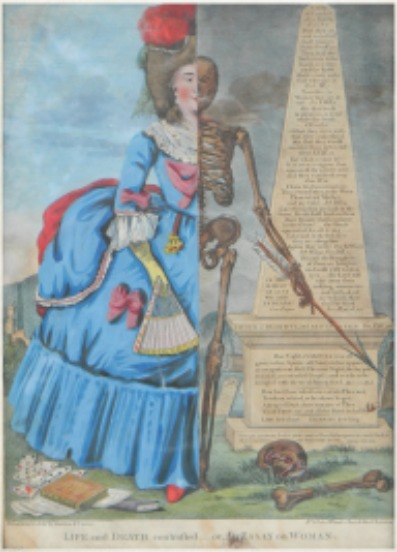 Life and Death Contrasted... or, An Essay on Woman. Hand-colored woodcut engraving, ca. 1770.