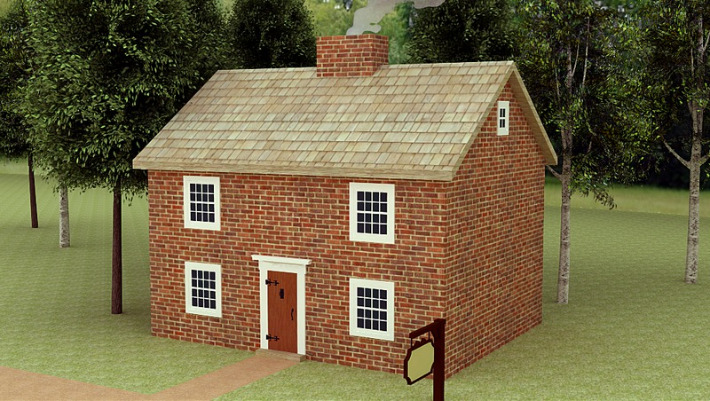 Computer Generated Model of the Three Hearts Tavern (1758-1774)