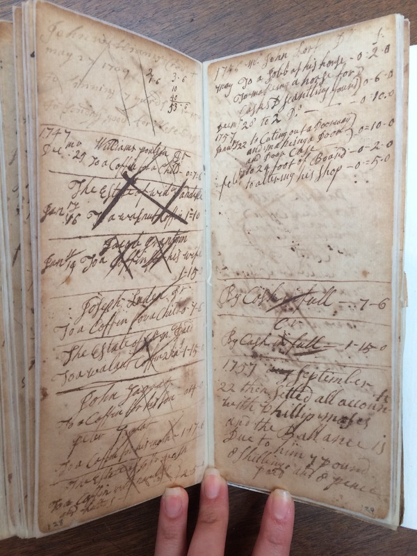 "John Williams Account Book ""Account of Coffins"""